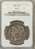Morgan Dollars: , 1886-S $1 Fine 12 NGC. NGC Census: (4/3241). PCGS Population (6/5384). Mintage: 750,000. Numismedia Wsl. Price for problem ...