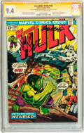 Bronze Age (1970-1979):Superhero, The Incredible Hulk #180 Signature Series (Marvel, 1974) CGC NM 9.4Off-white to white pages....
