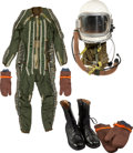 Transportation:Aviation, Russian High Altitude Compensation Suit with GSh-6A Helmet, Gloves,Overgloves, Boots, and Original Wooden Container, Circa 19...(Total: 5 Items)