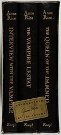 Books:Horror & Supernatural, Anne Rice. The Vampire Chronicles. New York: Knopf, 1990. All volumes signed by Rice. Three octavo volumes. Publ... (Total: 3 Items)