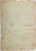 Autographs:Non-American, Napoleonic Era Legal Document. 1808. Eight pages. Approximately 12x 8.25 inches. Toning and foxing with abrading to edges. ...