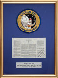 Transportation:Space Exploration, Apollo 12 Flown Framed Space Treaty Originally from the Alan BeanFamily Collection, Signed and Certified by Mission Lunar Mod...