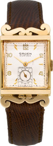 Timepieces:Wristwatch, Gruen 14k Gold Curvex With Scroll Lugs, circa 1940's. ...