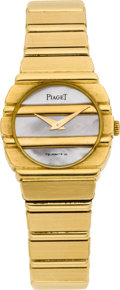 Timepieces:Wristwatch, Piaget 18k Gold Lady's Polo Bracelet Watch. ...