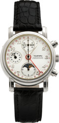 Timepieces:Wristwatch, Tourneau Platinum Astronomic Calendar Chronograph with GMTIndication. ...