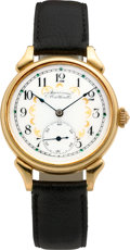 Timepieces:Wristwatch, Waltham Fancy Dial 18k Wristwatch, Case By Rolland Fischer. ...