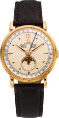 Timepieces:Wristwatch, Omega 18k Rose Gold Moon Phase Calendar, circa 1950's. ...