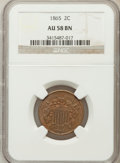 Two Cent Pieces, 1865 2C AU58 Brown NGC. NGC Census: (159/1631). PCGS Population(75/534). Mintage: 13,640,000. Numismedia Wsl. Price for pr...