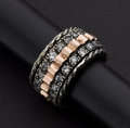 Estate Jewelry:Rings, Early White Sapphire & Rose Gold & Silver Ring. ...