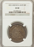 Seated Half Dollars: , 1853 50C Arrows and Rays XF40 NGC. NGC Census: (46/840). PCGSPopulation (98/796). Mintage: 3,532,708. Numismedia Wsl. Pric...