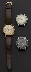 Timepieces:Pocket (post 1900), Two Chronographs For Repair & One Croton Wrist Alarm. ...(Total: 3 Items)