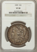 Morgan Dollars: , 1899 $1 VF30 NGC. NGC Census: (9/7787). PCGS Population (24/10458).Mintage: 330,846. Numismedia Wsl. Price for problem fre...