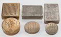 Asian:Chinese, SIX CHINESE BRASS AND METAL INK BOXES . Late Qing Dynasty . Marks:(various) . 4-7/8 inches long (12.5 cm) (largest). BOSS... (Total:6 Items)