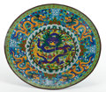 Asian:Chinese, CHINESE CLOISONNÉ CHARGER . Circa 1900. Marks: (seal mark)(attached wax seal). 23-1/8 inches diameter (58.7 cm). BOSS STA...