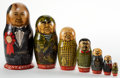 Decorative Arts, Continental:Other , RUSSIAN LACQUER MATROYSKA SET: LEADERS OF THE USSR . Circa1988. 8-1/8 inches high (20.6 cm). BOSS STA... (Total: 7 Items)