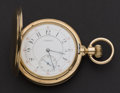 Timepieces:Pocket (post 1900), Swiss 14k Gold High Grade Private Label 19 Jewel Hunters's CasePocket Watch. ...
