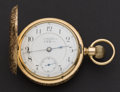 Timepieces:Pocket (post 1900), Aurora Private Label 14k Gold 18 Size Pocket Watch. ...