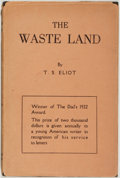 Books:Fiction, T. S. Eliot. The Wasteland. New York: Boni and Liveright,1922. Second edition. Octavo. 64 pages. Publisher's bl...