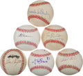 Autographs:Baseballs, Baseball Legends Single Signed Balls Lot Of 6....