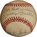 Autographs:Baseballs, Yankees Multi Signed Baseball Legends With Mickey Mantle. ...