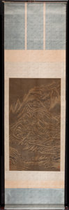 Asian:Chinese, CHINESE SCHOOL (20th Century). Traditional Landscape,probably Qianlong. Ink on silk mounted on paper-backed silkscroll...