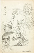 "Original Comic Art:Sketches, Robert and Charles Crumb ""Sharron Foley"" Two-Sided Sketchbook Page Original Art (c. 1961)...."