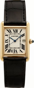 Timepieces:Wristwatch, Cartier Gent's 18k Gold Tank Wristwatch, circa 1980's. ...