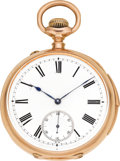 Timepieces:Pocket (pre 1900) , Swiss Rose Gold Quarter Hour Repeater, circa 1895. ...