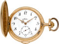 Timepieces:Pocket (pre 1900) , Swiss (Nestor) Large Gold Quarter Repeating Hunters Case, circa1895. ...