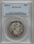 Barber Half Dollars: , 1893-S 50C Fine 12 PCGS. PCGS Population (7/134). NGC Census:(3/74). Mintage: 740,000. Numismedia Wsl. Price for problem f...