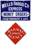 Advertising:Signs, Wells Fargo and Railway Express Signs.... (Total: 2 Items)
