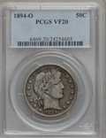 Barber Half Dollars: , 1894-O 50C VF20 PCGS. PCGS Population (8/211). NGC Census: (2/133).Mintage: 2,138,000. Numismedia Wsl. Price for problem f...