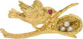 Political:Presidential Relics, Gold Bird and Nest Pin, Benefiting Lady Bird Johnson Wildflower Center....
