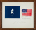 Transportation:Space Exploration, Apollo 14 Flown American Flag on Mat Signed by Stuart RoosaOriginally from the Personal Collection of North American Avia...