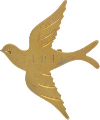 "Gold Plated Bird Pin Engraved ""LBJ"" for Lady Bird Johnson, Benefiting Lady Bird Johnson Wildflower Center"