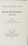 Books:Books about Books, John Eliot Alden, editor. Rhode Island Imprints 1727-1800. New York: Published for the Bibliographical Society o...