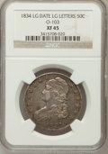 Bust Half Dollars, 1834 50C Large Date, Small Letters XF45 NGC. O-103. NGC Census:(0/0). PCGS Population (67/307). (#6165)...