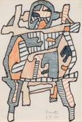 Prints, JEAN DUBUFFET (French, 1901-1985). Brouette, 1964. Color marker and ink on paper. 10-1/2 x 7 inches (26.7 x 17.8 cm). In...