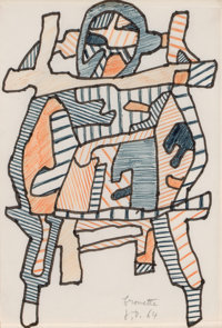JEAN DUBUFFET (French, 1901-1985) Brouette, 1964 Color marker and ink on paper 10-1/2 x 7 inches