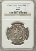 Bust Half Dollars, 1834 50C Large Date, Small Letters VF25 NGC. O-108. NGC Census:(0/0). PCGS Population (11/464). (#6165)...