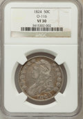 Bust Half Dollars, 1824 50C VF30 NGC. O-116. NGC Census: (26/775). PCGS Population(54/818). Mintage: 3,504,954. Numismedia Wsl. Price for pro...