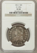 Bust Half Dollars, 1812 50C VF20 NGC. O-109a. NGC Census: (10/719). PCGS Population(20/844). Mintage: 1,628,059. Numismedia Wsl. Price for pr...