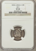 Bust Dimes, 1834 10C Large 4 VF30 NGC. JR-5. PCGS Population (8/161).(#4526)...
