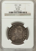 Bust Half Dollars, 1821 50C VF25 NGC. O-106a. NGC Census: (10/475). PCGS Population(22/585). Mintage: 1,305,797. Numismedia Wsl. Price for pr...