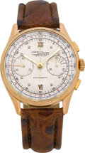 Timepieces:Wristwatch, Charles Nicolet Vintage 18k Rose Gold Chronograph, circa 1940's....