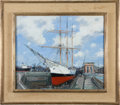 Political:Presidential Relics, Painting of a Sailing Ship at Dock by Rene Marie Dujardin, Benefiting Lady Bird Johnson Wildflower Center....