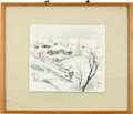 Political:Presidential Relics, Korean Watercolor of a Man Carrying a Bundle of Sticks....