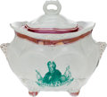Political:3D & Other Display (pre-1896), William Henry Harrison: Strawberry Luster Sugar Bowl....