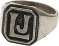 "Political:Presidential Relics, Man's Sterling Silver Monogram Ring Engraved ""LJ"", Benefiting Lady Bird Johnson Wildflower Center...."