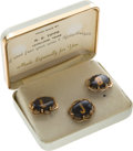 Political:Presidential Relics, Handmade Cufflinks and Tie Tack Belonging to Lyndon Johnson....